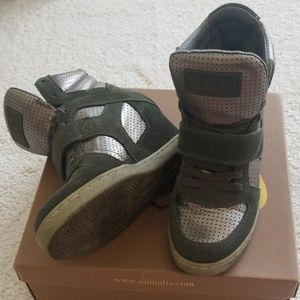 Ash Cool Olive Green Wedge Hightop Sneakers